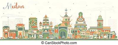 ciudad, edificios., color, indonesia, contorno, medan