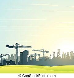 ciudad, edificios, construcción, moderno, skyline.