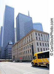 ciudad, edificios, dallas, céntrico, rascacielos, espejo