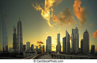 ciudad, edificios, finanzas, y, lujiazui, s, oficinas, ocaso, paisaje