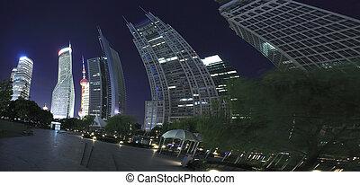 ciudad, edificios, finanzas, y, lujiazui, shanghai, urbano, noche, señal, paisaje