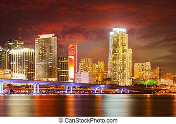 ciudad, edificios, florida, colorido, miami, residencial, ...