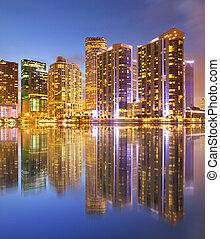ciudad, edificios, florida, empresa / negocio, miami, ...