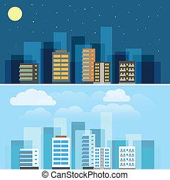 ciudad, edificios, ftat, resumen, ilustración, diseño, set.