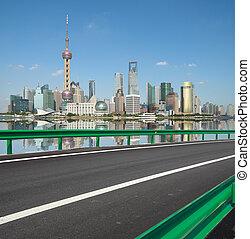 ciudad, edificios, lujiazui, shanghai, vacío, camino