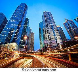 ciudad, edificios, moderno, luz, shanghai, túneles, senderos, camino