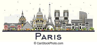 ciudad, edificios, parís, aislado, francia, color, contorno...
