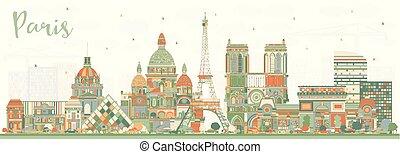 ciudad, edificios., parís francia, color, contorno
