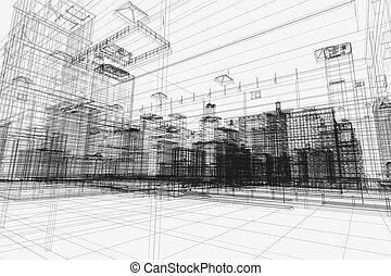 ciudad, edificios, proyecto, 3d, wireframe, impresión,...