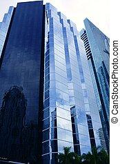 ciudad, edificios, rascacielos, urbano, miami, céntrico