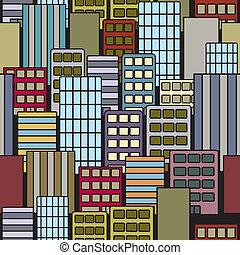 ciudad, edificios, seamless