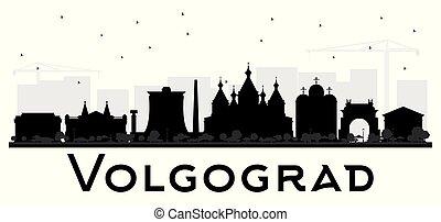 ciudad, edificios, silueta, aislado, contorno, negro,...
