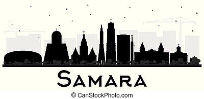 ciudad, edificios, silueta, aislado, samara, contorno,...