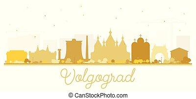 ciudad, edificios, silueta, dorado, aislado, contorno,...