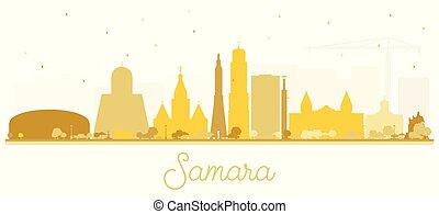 ciudad, edificios, silueta, dorado, aislado, samara,...