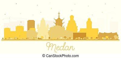 ciudad, edificios, silueta, dorado, indonesia, aislado, ...