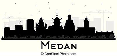 ciudad, edificios, silueta, indonesia, aislado, contorno, ...