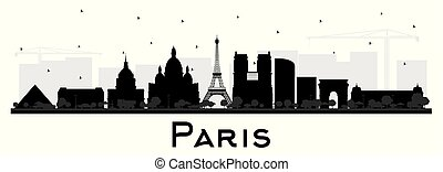 ciudad, edificios, silueta, parís, aislado, francia, ...