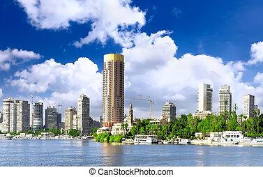 ciudad, el cairo, nilo, egypt., river., seafront
