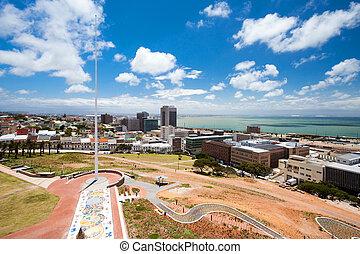 ciudad, elizabeth, áfrica, puerto, sur, vista