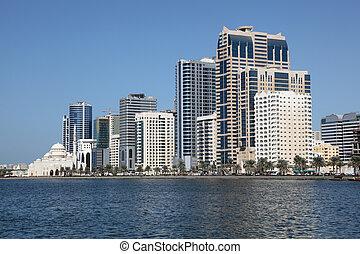 ciudad, emiratos árabes unidos, sharjah, contorno