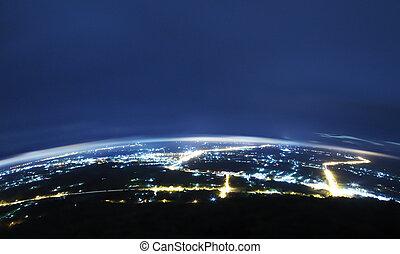 ciudad, en, night.