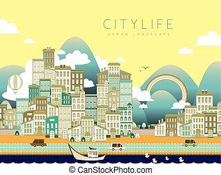ciudad, encantador, vida