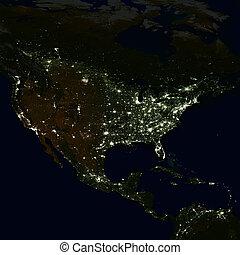 ciudad enciende, en, mundo, map., norte, america.