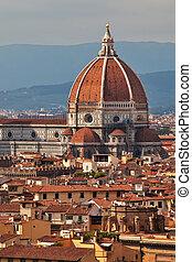 ciudad, encima, cúpula, cathedal, skyline., principal, ...