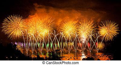 ciudad, encima, fuegos artificiales, lago, francia, annecy,...