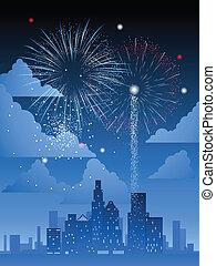 ciudad, encima, fuegos artificiales