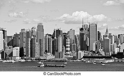 ciudad, encima, hudson, contorno, b&w, york, nuevo, río