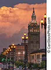 ciudad, encima, kansas, tormenta