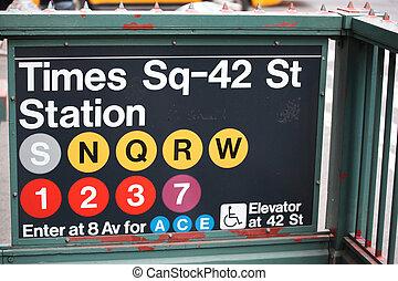 ciudad, entrada, cuadrado, épocas, metro, nueva york