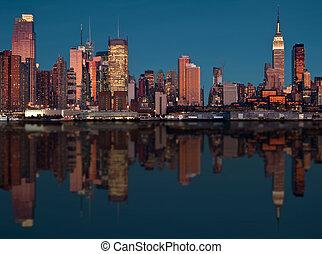 ciudad, escénico, encima, hudson, contorno, york, nuevo, río