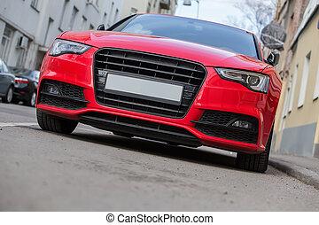 ciudad, estacionado, lujo, coche rojo