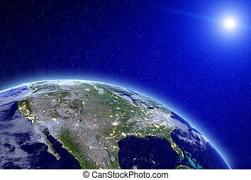 ciudad, -, estados unidos de américa, luces