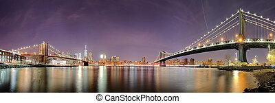 ciudad, estados unidos de américa, panorama, contorno, york, noche, nuevo