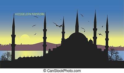 ciudad, estambul, saludo, ramadan, plano de fondo, su,...