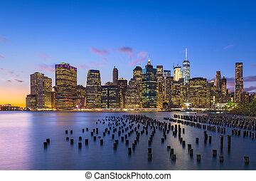 ciudad, este, contorno, york, nuevo, río