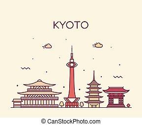 ciudad, estilo, lineal, kyoto, vector, japón, contorno
