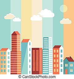 ciudad, estilo, plano, simple, ilustración, vector