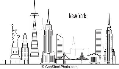 ciudad, estilo, torres, manhatten, señales, -,...