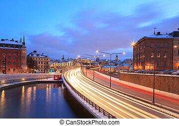 ciudad, Estocolmo, carretera