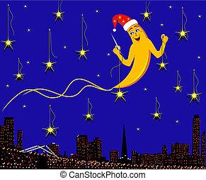 ciudad, estrellas, mes, plano de fondo, noche, cose