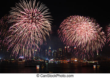 ciudad, exposición, fuegos artificiales, york, nuevo,...