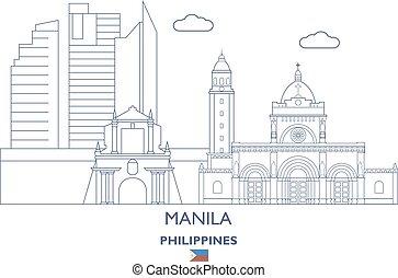 ciudad, filipinas, contorno, manila