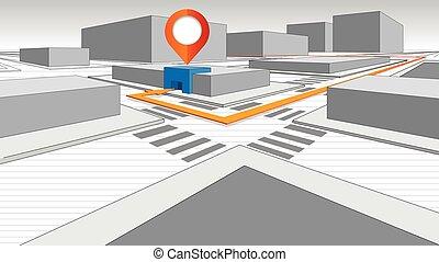 ciudad, flecha, detalle, bloque, plan, edificios, 3-...