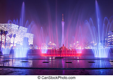 ciudad, flor, fuente, guangzhou, plaza