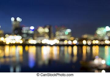 ciudad, foco, céntrico, luces, portland, afuera
